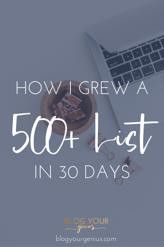 How I grew a 500+ Email list in 30 days